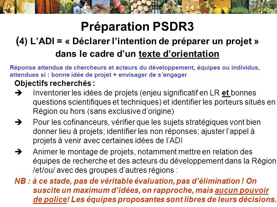 Préparation PSDR3 ( 4) LADI = « Déclarer lintention de préparer un projet » dans le cadre dun texte dorientation Objectifs recherchés : Inventorier le