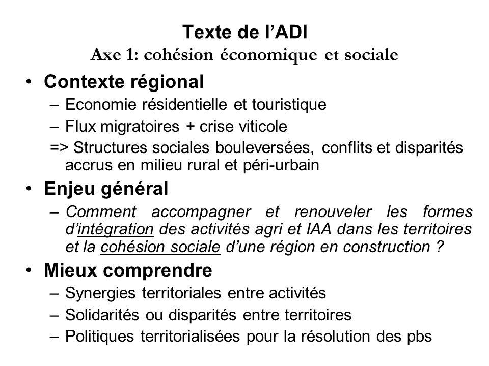 Texte de lADI Axe 1: cohésion économique et sociale Contexte régional –Economie résidentielle et touristique –Flux migratoires + crise viticole => Str