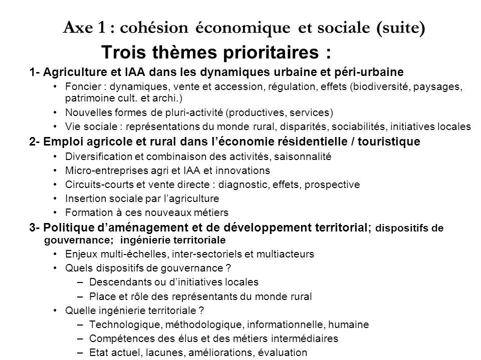 Axe 1 : cohésion économique et sociale (suite) Trois thèmes prioritaires : 1- Agriculture et IAA dans les dynamiques urbaine et péri-urbaine Foncier :