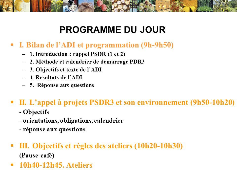 Phase 1, 1994-99, expérimentale, 3 régions (LR, PDL, RA) DADP-LR-1 22 projets de recherche en partenariat en LR, Phase 2, 2001-05 : 5 régions (PDL, Bourgogne, RA, MP, PDL) DADP-LR2, devenu PSDR-LR2 en 2003 En LR, 16 projets de recherche en partenariat, dont ½ en continuité de DADP-LR1 (capitalisation) 3ème phase de ce type de programmes en LR (« PSDR » Pour et Sur le Développement Régional ») 2005-06, conclusions-évaluations, nationales/régionales - Symposium de conclusion nationale PSDR2 (Lyon, mars 2005) - Evaluation nationale (mars-octobre 2005) Phase 3, 2007-10, à construire 10 régions métropolitaines, dont LR (PSDR-LR3) 1 ou 2 DOM -Evaluation régionale (mars-mai 2005) -Restitutions des résultats en région par projet ; Colloque régional de conclusion le 21 Juin 2006 à Montpellier : www.montpellier.inra.fr /PSDR/ www.montpellier.inra.fr /vignesolenv/