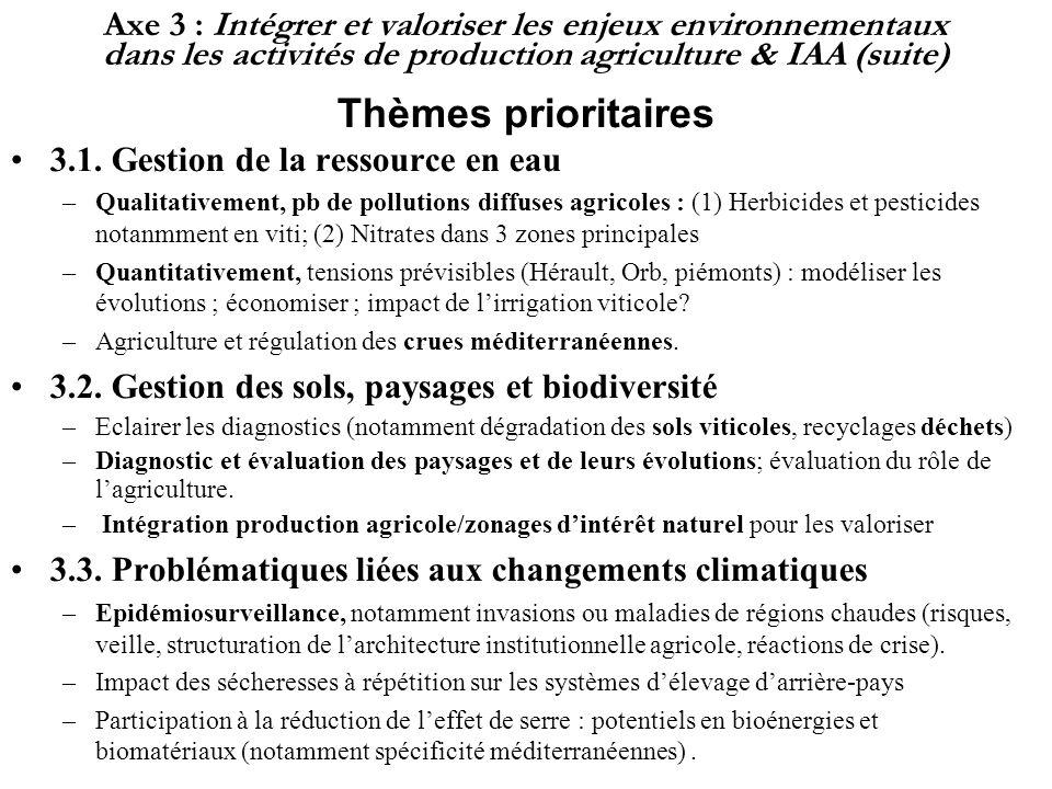 Axe 3 : Intégrer et valoriser les enjeux environnementaux dans les activités de production agriculture & IAA (suite) Thèmes prioritaires 3.1. Gestion