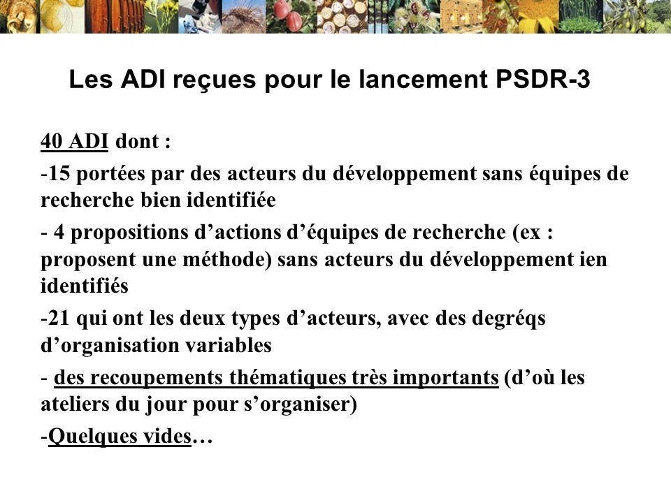 Les ADI reçues pour le lancement PSDR-3 40 ADI dont : -15 portées par des acteurs du développement sans équipes de recherche bien identifiée - 4 propo