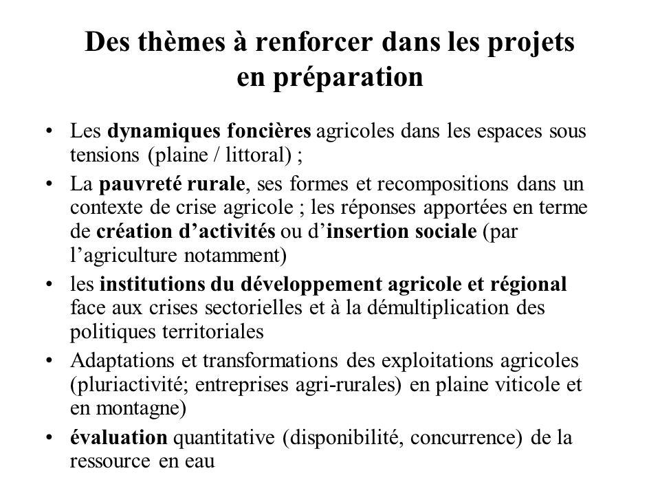 Des thèmes à renforcer dans les projets en préparation Les dynamiques foncières agricoles dans les espaces sous tensions (plaine / littoral) ; La pauv