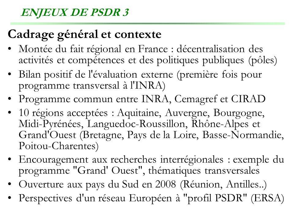 ENJEUX DE PSDR 3 Cadrage général et contexte Montée du fait régional en France : décentralisation des activités et compétences et des politiques publi