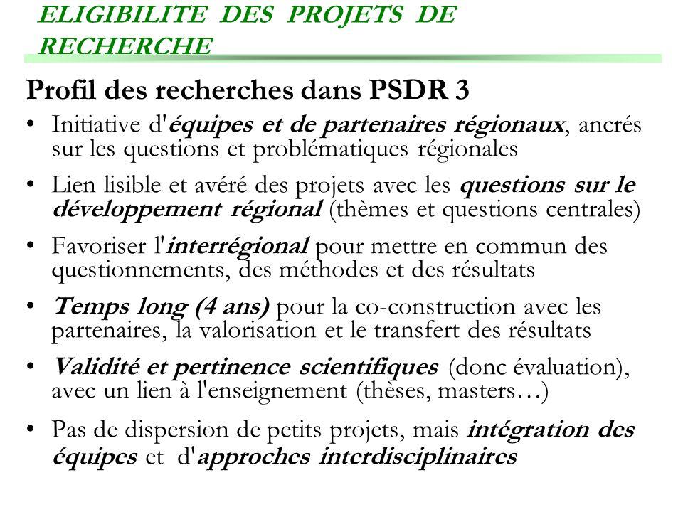 ELIGIBILITE DES PROJETS DE RECHERCHE Profil des recherches dans PSDR 3 Initiative d'équipes et de partenaires régionaux, ancrés sur les questions et p