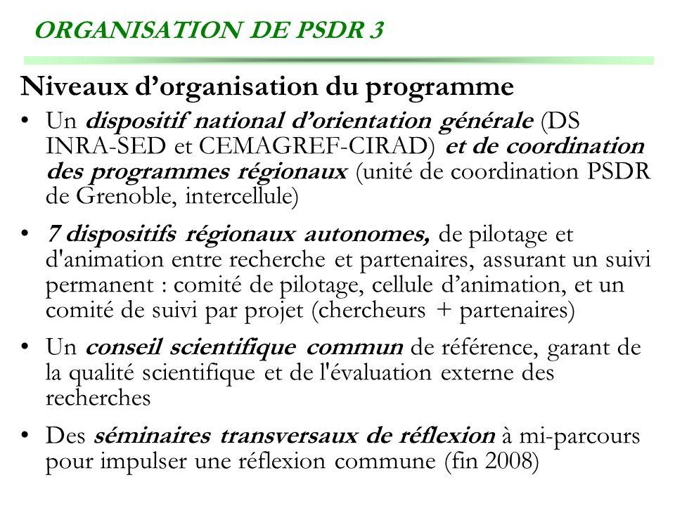 ORGANISATION DE PSDR 3 Niveaux dorganisation du programme Un dispositif national dorientation générale (DS INRA-SED et CEMAGREF-CIRAD) et de coordinat