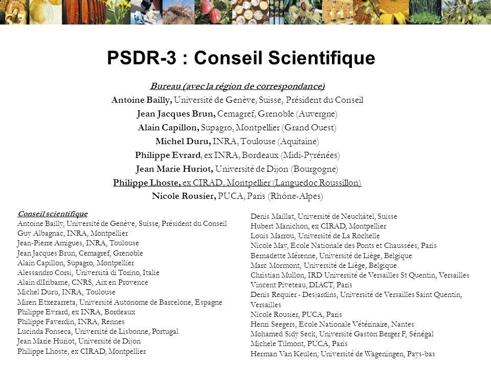 PSDR-3 : Conseil Scientifique Bureau (avec la région de correspondance) Antoine Bailly, Université de Genève, Suisse, Président du Conseil Jean Jacque