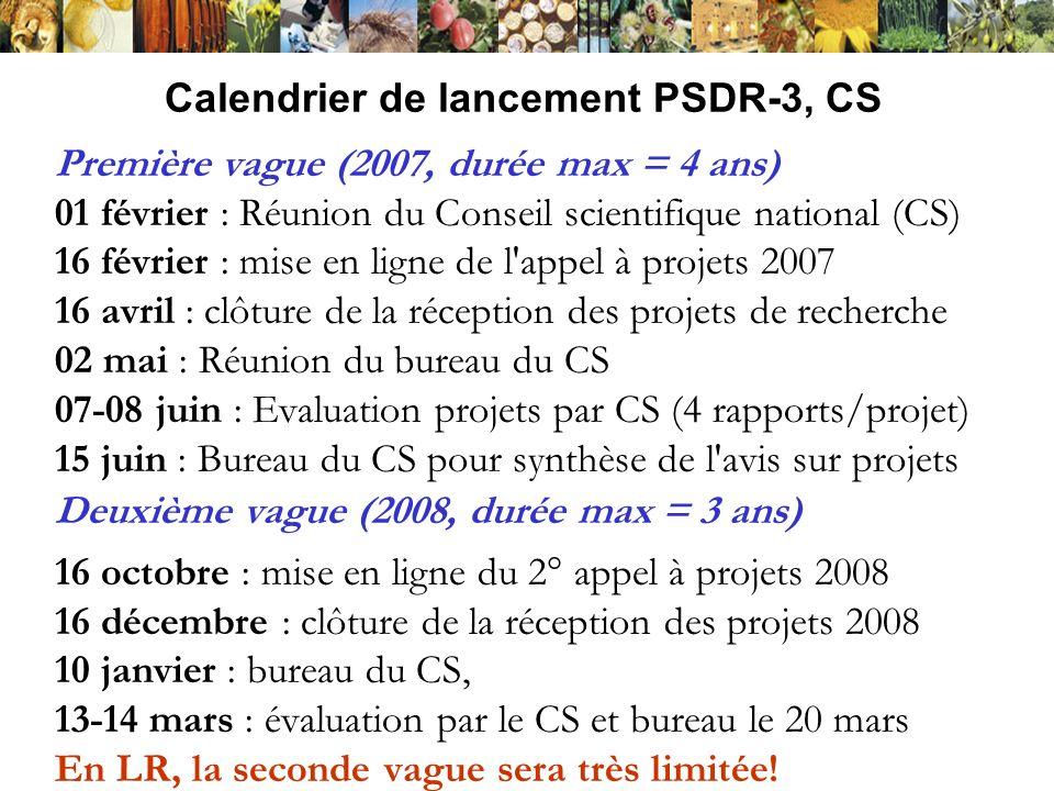 Calendrier de lancement PSDR-3, CS Première vague (2007, durée max = 4 ans) 01 février : Réunion du Conseil scientifique national (CS) 16 février : mi