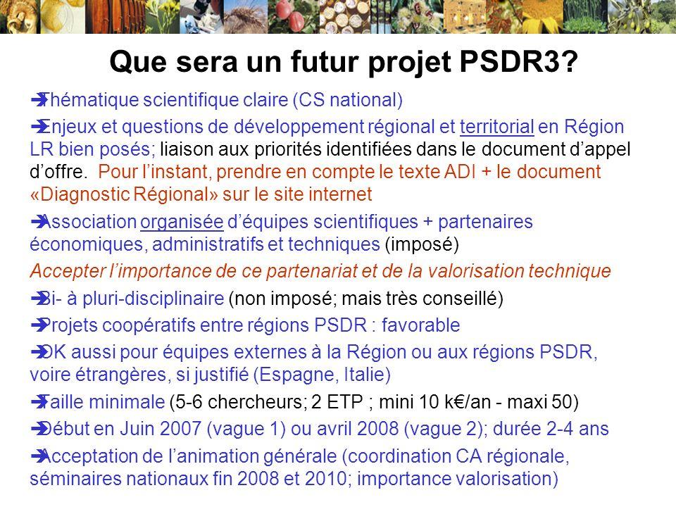 Que sera un futur projet PSDR3? Thématique scientifique claire (CS national) Enjeux et questions de développement régional et territorial en Région LR