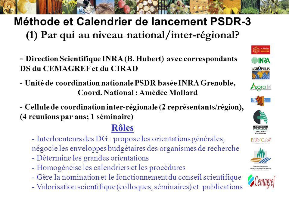 Méthode et Calendrier de lancement PSDR-3 (1) Par qui au niveau national/inter-régional? - Direction Scientifique INRA (B. Hubert) avec correspondants