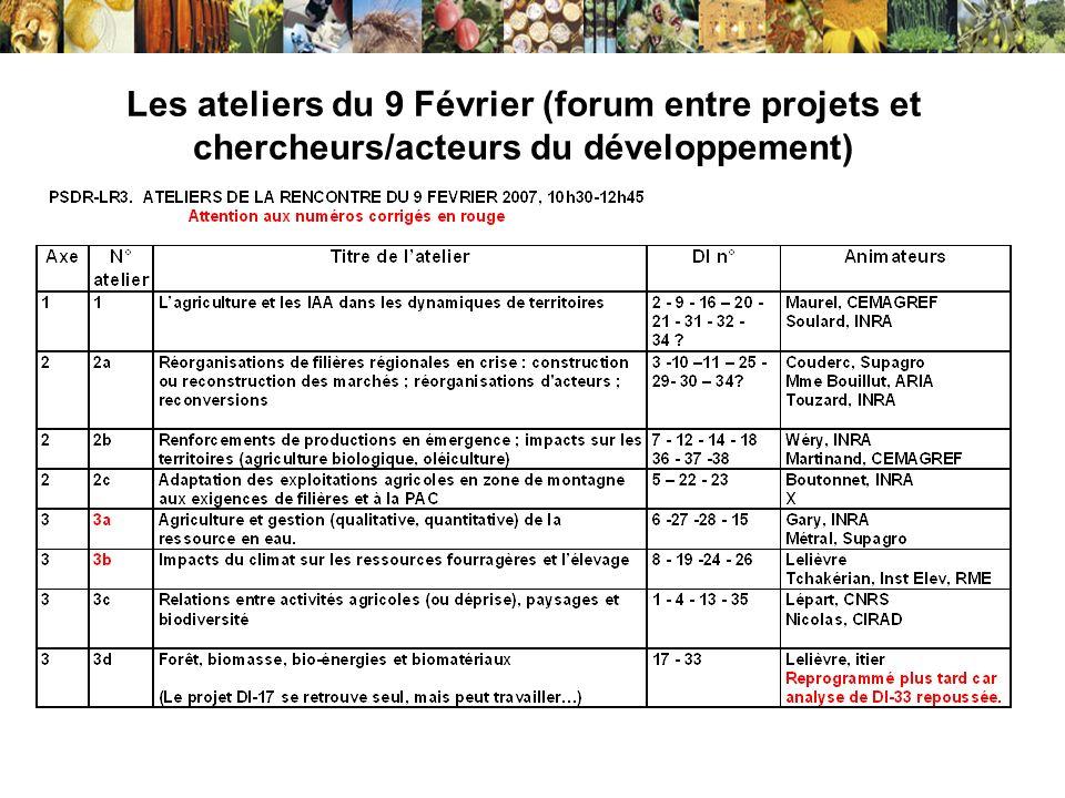 Les ateliers du 9 Février (forum entre projets et chercheurs/acteurs du développement)