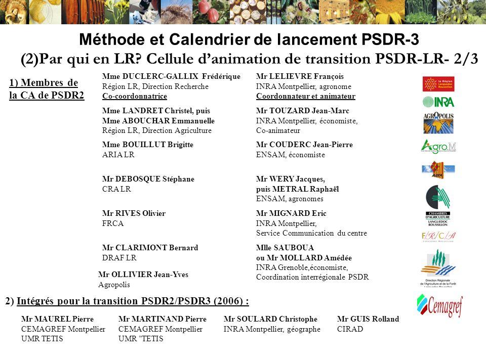 Méthode et Calendrier de lancement PSDR-3 (3) Calendrier dActivité de la Cellule dAnimation Transitoire - Décembre 06-janvier 07 : texte de synthèse et lancement dune ADI en LR - 9 Février 2007 : rendu sur lADI - Bilan des propositions spontanées - Mises en relation intra-régionale entre équipes de recherche et partenaires (intra- et inter-régionale) - Conseil à la construction des projets Juin-Novembre 06 : identification des enjeux et questions de développement régional et territorial en Région LR (= autres régions) - Bibliographie Document « Diagnostic Régional » (sur site internet) - Consultations Document « Consultations » dispo sur demande par e-mail 15 Février : Parution de lappel à projets (idem pour 10 Régions) Fin février 2007 : Arrêt dactivité de la CA transitoire; Mise en place des instances PSDR3