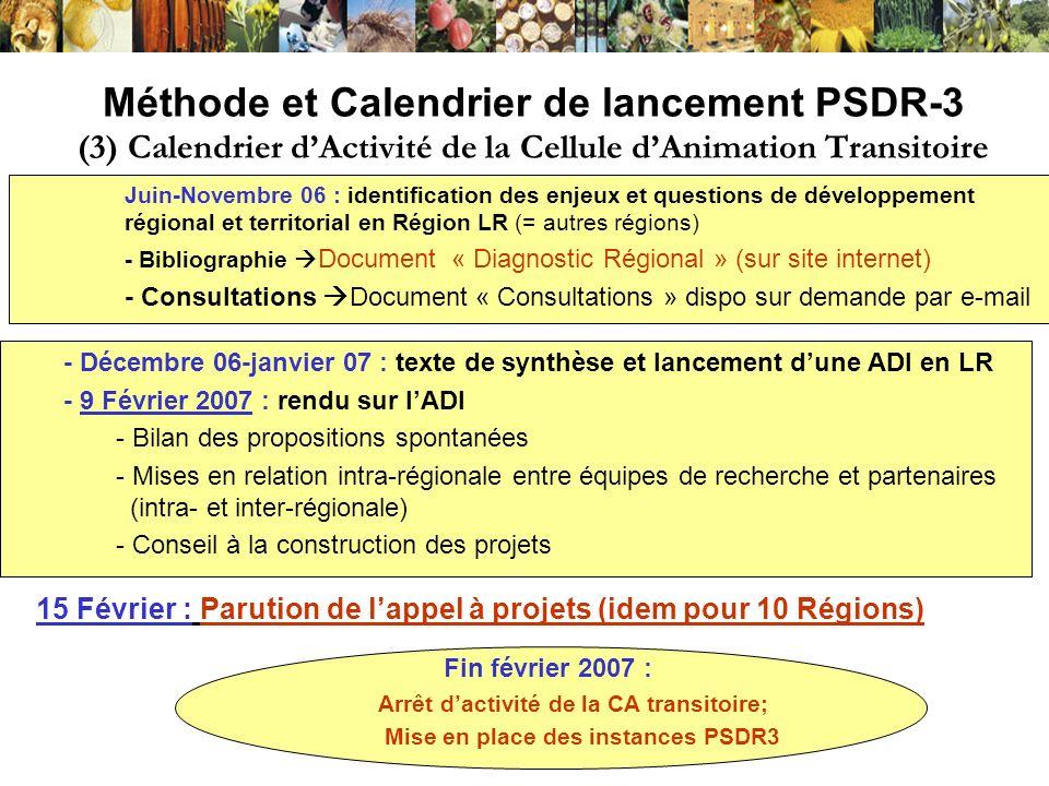 Méthode et Calendrier de lancement PSDR-3 (3) Calendrier dActivité de la Cellule dAnimation Transitoire - Décembre 06-janvier 07 : texte de synthèse e