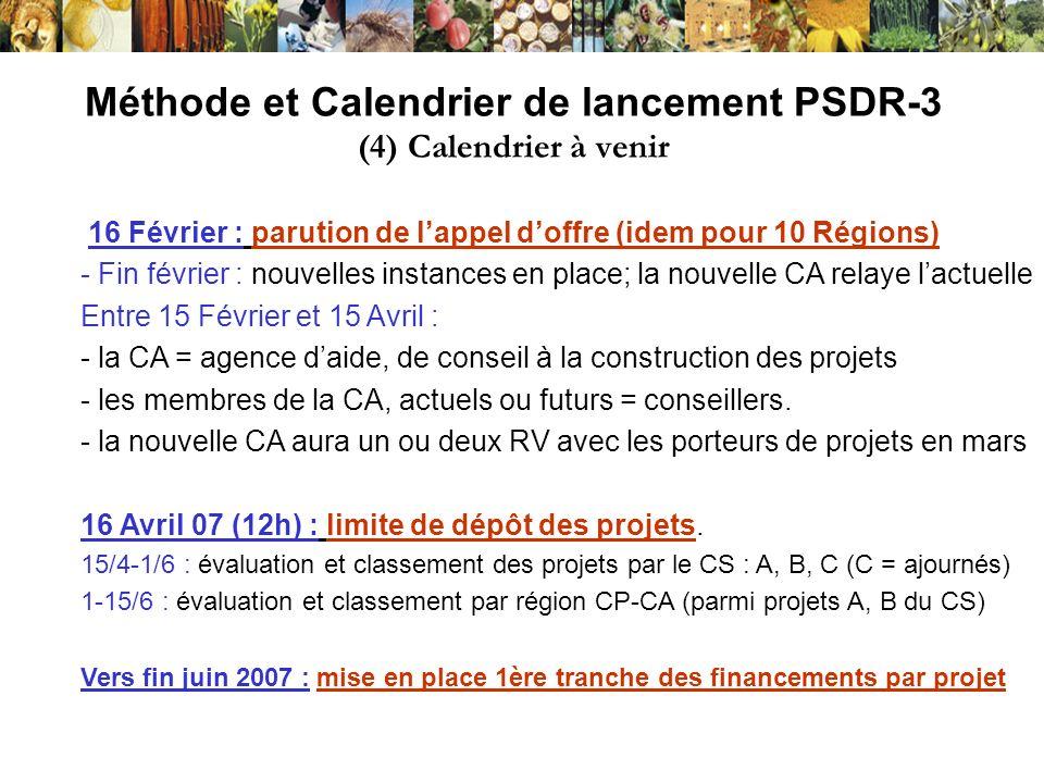 - les projets et résultats acquis dans les phases 1 et 2 - les documents nationaux dorientation PSDR - les documents de travail élaborés par la CA régionale pour préparer PSDR3 - le texte dAppel à Déclaration dIntention - le texte dAppel à Projets (le 16/2) + contacts en région et dans les autres régions PSDR Entrer par : www.montpellier.inra/PSDR/ - Site utilisé pour information sur lavancement du travail, les réunions, les R.V., donc consulter régulièrement - Egalement pour contacter PSDR autres régions (chercher des collaborations, créer un projet inter-régional): cf.