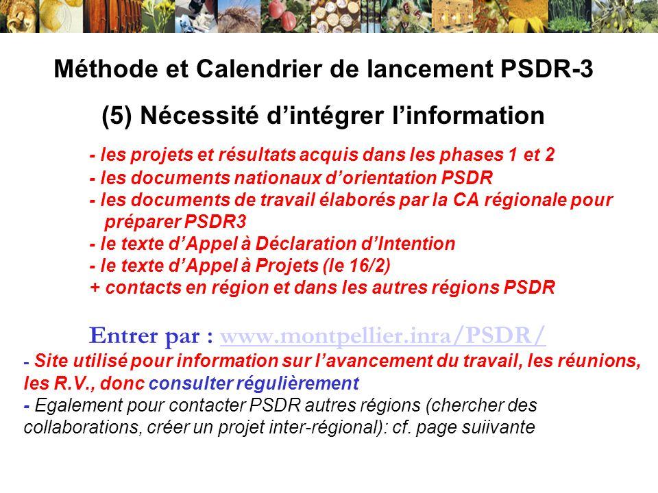 Méthode et Calendrier de lancement PSDR-3 (5) Nécessité dintégrer linformation (suite) : connaître les orientations et projets PSDR des autres régions; contacter Coordination nationale : www.inra.fr/psdr/www.inra.fr/psdr/ Aquitaine : http://www.bordeaux.inra.fr/actualites/http://www.bordeaux.inra.fr/actualites/ Auvergne : en cours Bourgogne : http://www.dijon.inra.fr/les_partenariats/psdrhttp://www.dijon.inra.fr/les_partenariats/psdr Grand-Ouest: Pays de Loire, Poitou-Charentes, Basse Normandie, Bretagne http://www.nantes.inra.fr/presentation_de_l_inra_de_nantes/partenariat/pr ogramme_psdr_grand_ouest Languedoc-Roussillon : http://www.montpellier.inra.fr/PSDR/ http://www.nantes.inra.fr/presentation_de_l_inra_de_nantes/partenariat/pr ogramme_psdr_grand_ouesthttp://www.montpellier.inra.fr/PSDR/ Rhône-Alpes : http://www.psdr-ra.fr/ Les liens avec ces autres sites sont mis à jour sur la page daccueil du site PSDR-LRhttp://www.psdr-ra.fr/