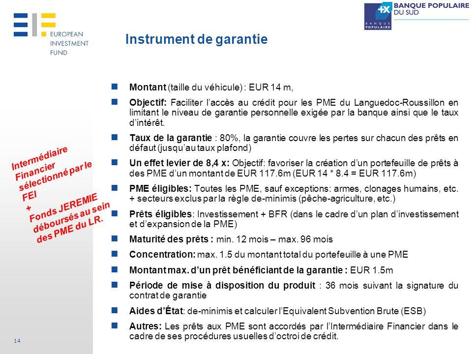 14 Montant (taille du véhicule) : EUR 14 m, Objectif: Faciliter laccès au crédit pour les PME du Languedoc-Roussillon en limitant le niveau de garanti
