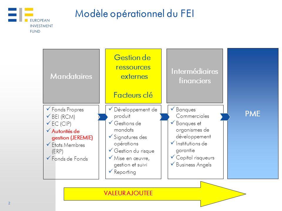 2 Modèle opérationnel du FEI VALEUR AJOUTEE Fonds Propres BEI (RCM) EC (CIP) Autorités de gestion (JEREMIE) Etats Membres (ERP) Fonds de Fonds Dévelop