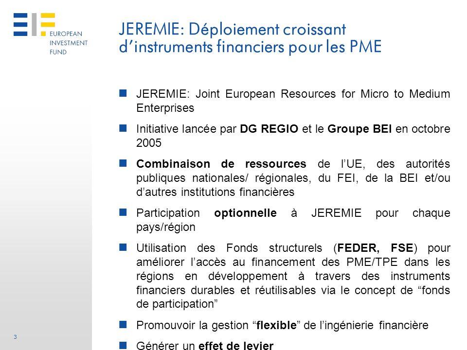 3 JEREMIE: Joint European Resources for Micro to Medium Enterprises Initiative lancée par DG REGIO et le Groupe BEI en octobre 2005 Combinaison de res