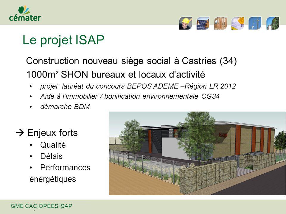Nom de ma présentation | 31/12/2013 Le projet ISAP Construction nouveau siège social à Castries (34) 1000m² SHON bureaux et locaux dactivité projet la