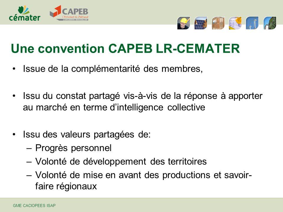 GME CACIOPEES ISAP Une convention CAPEB LR-CEMATER Issue de la complémentarité des membres, Issu du constat partagé vis-à-vis de la réponse à apporter