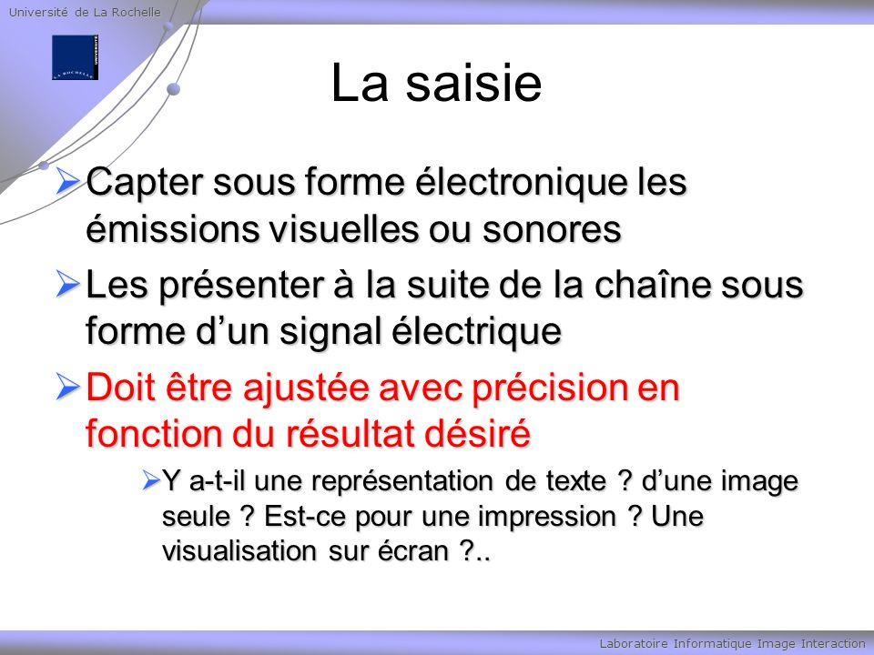 Université de La Rochelle Laboratoire Informatique Image Interaction La saisie Capter sous forme électronique les émissions visuelles ou sonores Capte