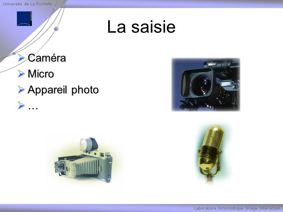Université de La Rochelle Laboratoire Informatique Image Interaction La saisie Caméra Caméra Micro Micro Appareil photo Appareil photo …