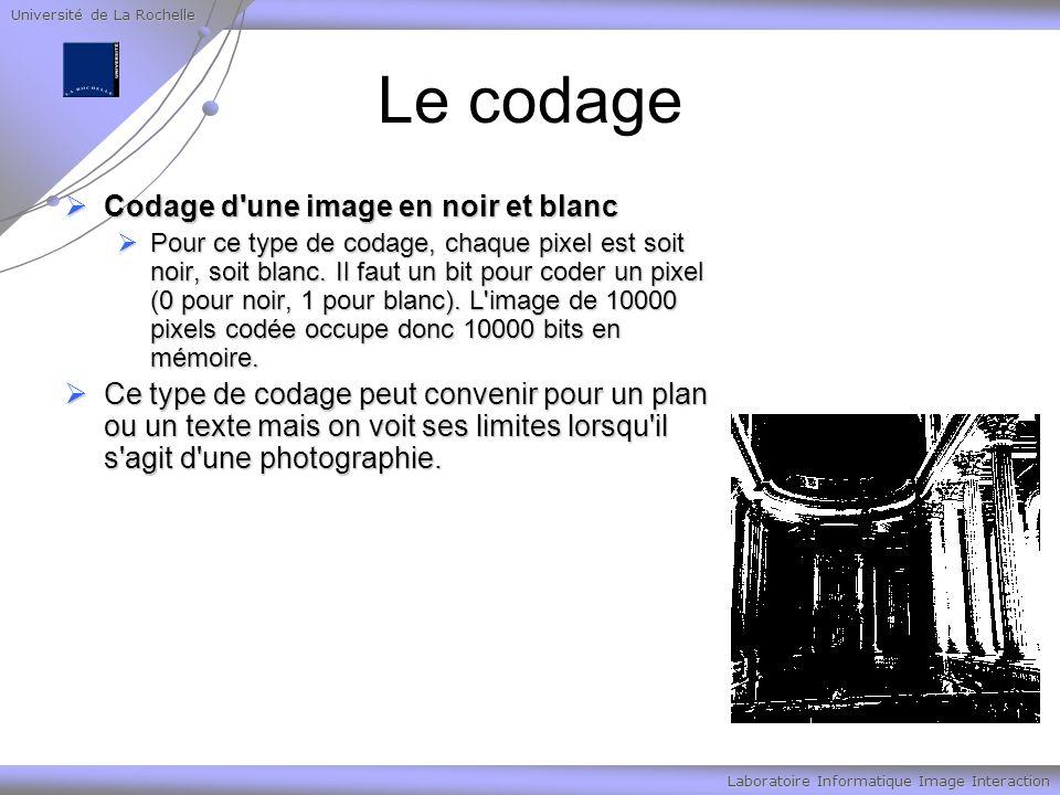 Université de La Rochelle Laboratoire Informatique Image Interaction Le codage Codage d'une image en noir et blanc Codage d'une image en noir et blanc