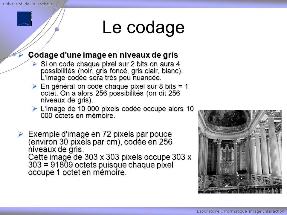 Université de La Rochelle Laboratoire Informatique Image Interaction Le codage Codage d'une image en niveaux de gris Codage d'une image en niveaux de