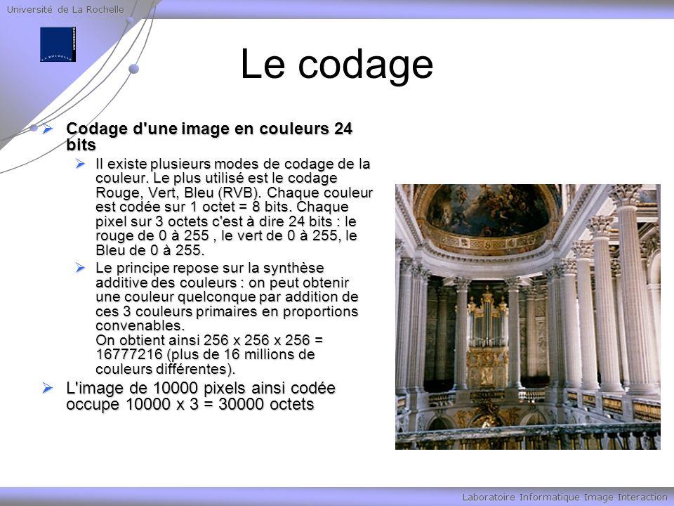 Université de La Rochelle Laboratoire Informatique Image Interaction Le codage Codage d'une image en couleurs 24 bits Codage d'une image en couleurs 2