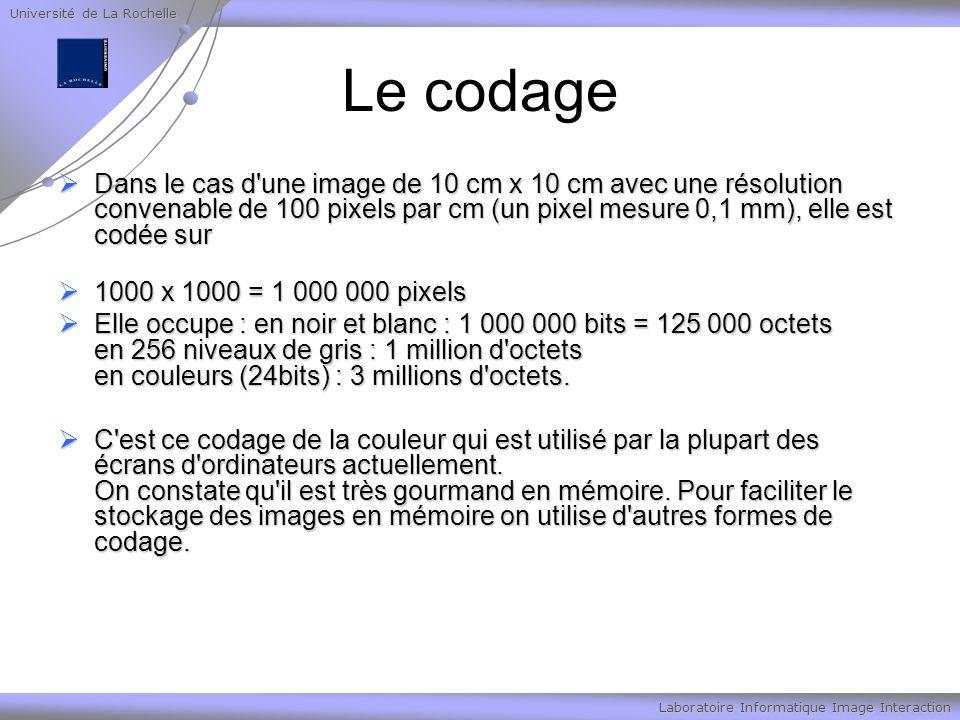 Université de La Rochelle Laboratoire Informatique Image Interaction Le codage Dans le cas d'une image de 10 cm x 10 cm avec une résolution convenable