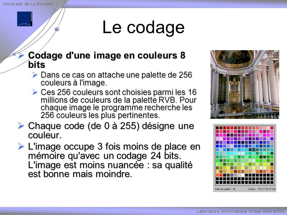 Université de La Rochelle Laboratoire Informatique Image Interaction Le codage Codage d'une image en couleurs 8 bits Codage d'une image en couleurs 8