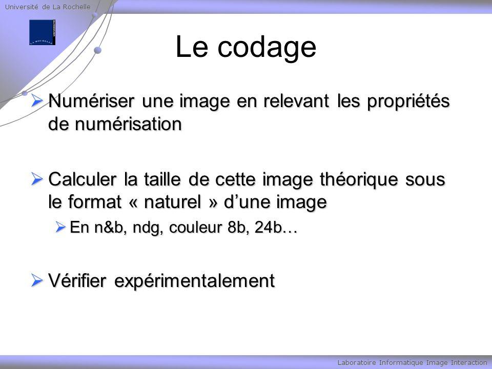 Université de La Rochelle Laboratoire Informatique Image Interaction Le codage Numériser une image en relevant les propriétés de numérisation Numérise