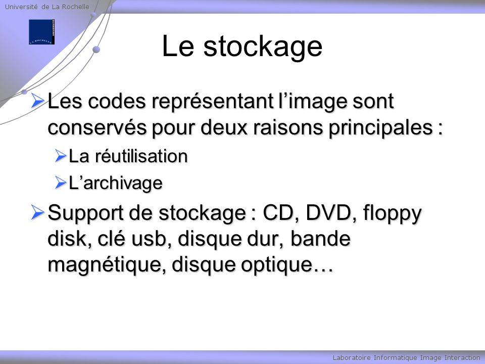 Université de La Rochelle Laboratoire Informatique Image Interaction Le stockage Les codes représentant limage sont conservés pour deux raisons princi