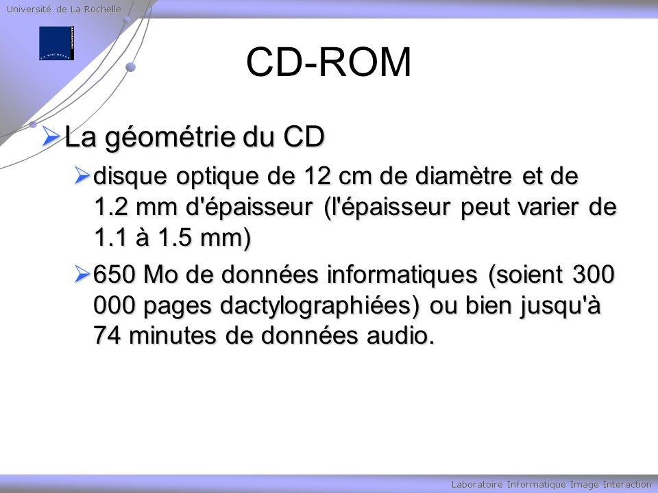 Université de La Rochelle Laboratoire Informatique Image Interaction CD-ROM La géométrie du CD La géométrie du CD disque optique de 12 cm de diamètre