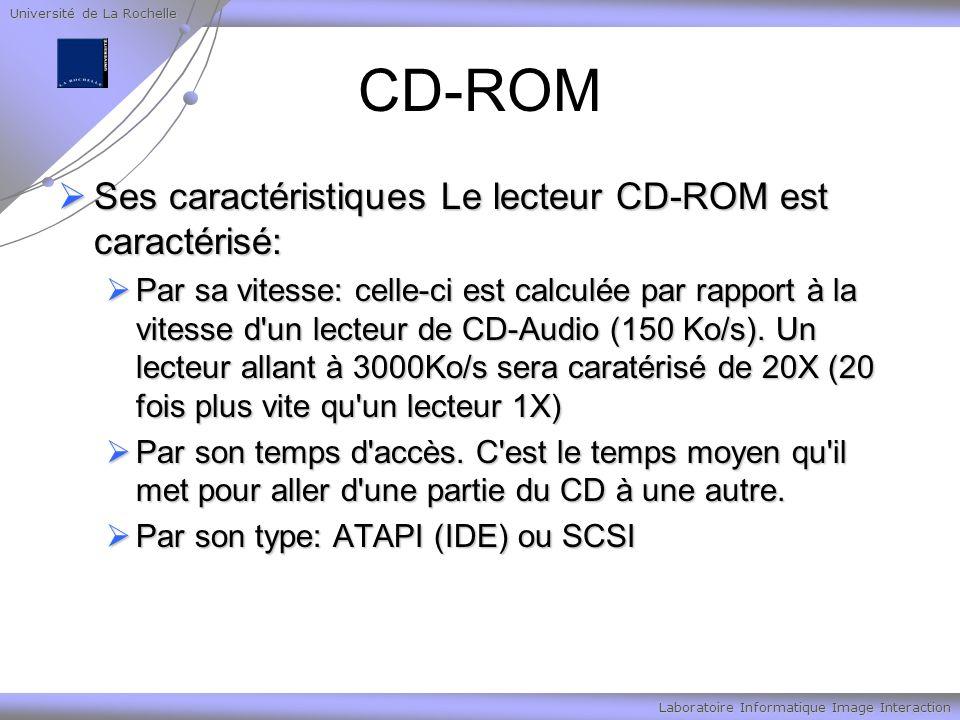 Université de La Rochelle Laboratoire Informatique Image Interaction CD-ROM Ses caractéristiques Le lecteur CD-ROM est caractérisé: Ses caractéristiqu