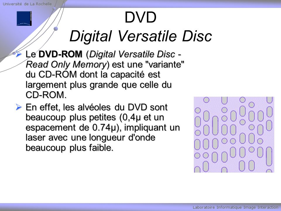 Université de La Rochelle Laboratoire Informatique Image Interaction DVD Digital Versatile Disc Le DVD-ROM (Digital Versatile Disc - Read Only Memory)