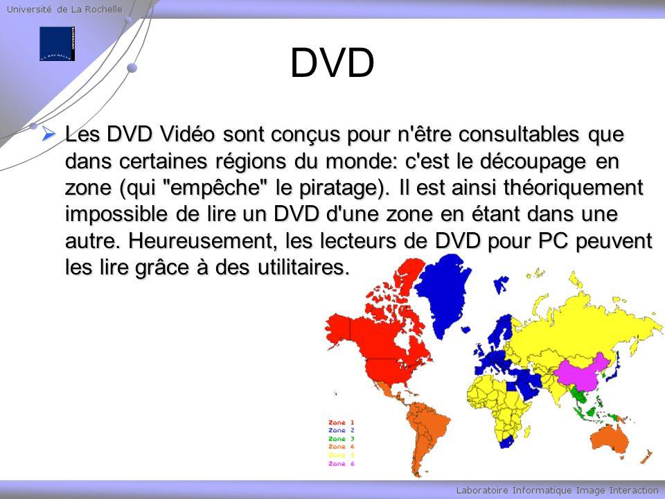 Université de La Rochelle Laboratoire Informatique Image Interaction DVD Les DVD Vidéo sont conçus pour n'être consultables que dans certaines régions