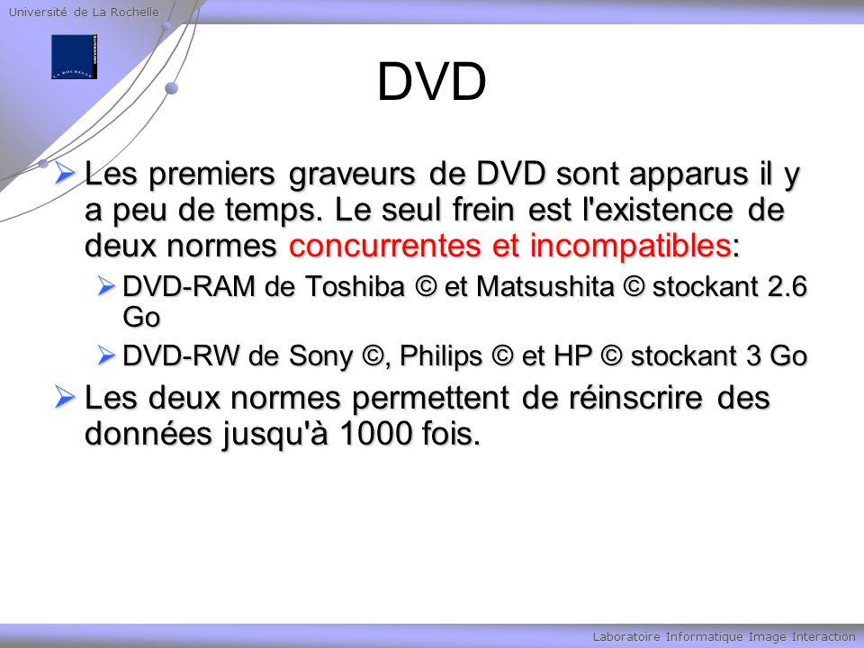 Université de La Rochelle Laboratoire Informatique Image Interaction DVD Les premiers graveurs de DVD sont apparus il y a peu de temps. Le seul frein