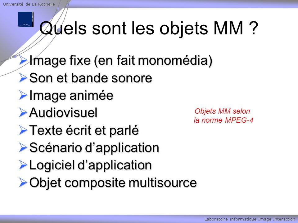 Université de La Rochelle Laboratoire Informatique Image Interaction Quels sont les objets MM ? Image fixe (en fait monomédia) Image fixe (en fait mon