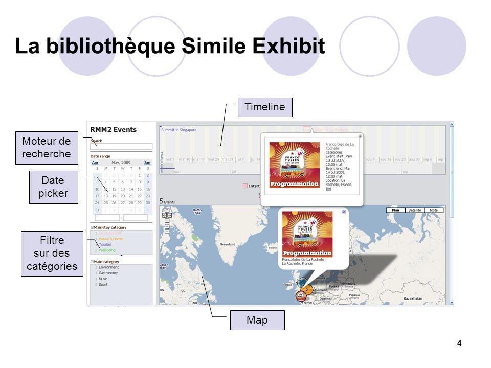 4 La bibliothèque Simile Exhibit Moteur de recherche Date picker Filtre sur des catégories Timeline Map