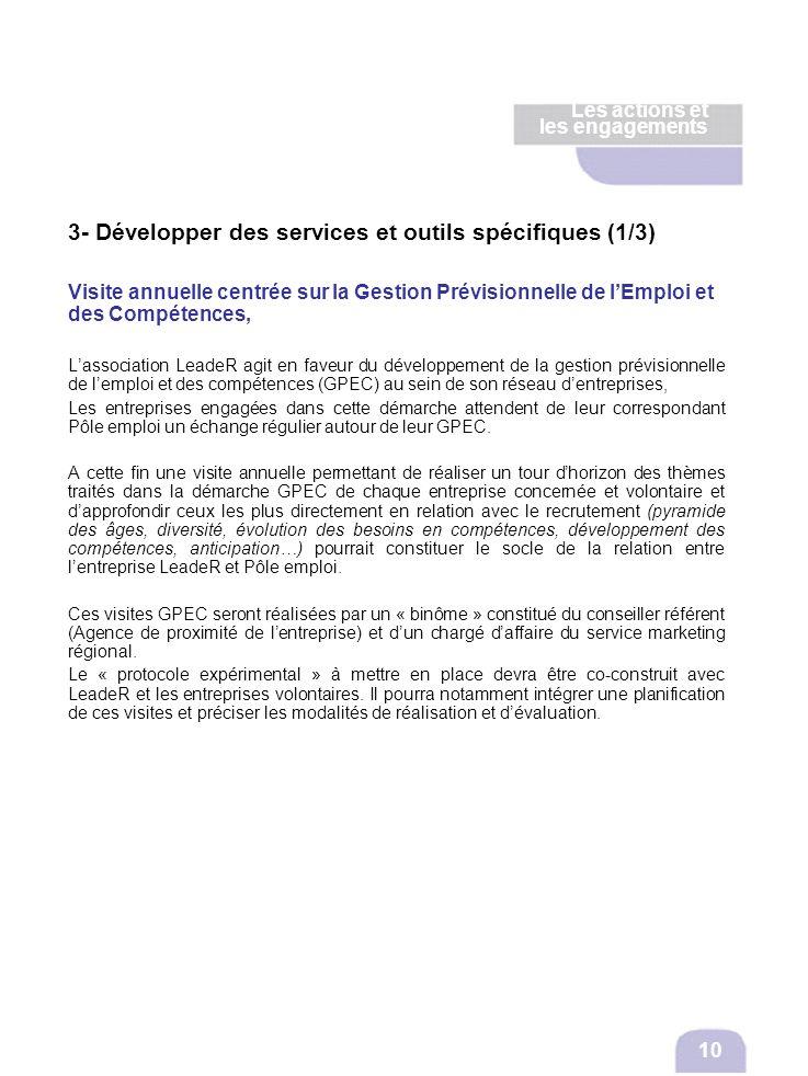 3- Développer des services et outils spécifiques (1/3) Visite annuelle centrée sur la Gestion Prévisionnelle de lEmploi et des Compétences, Lassociati