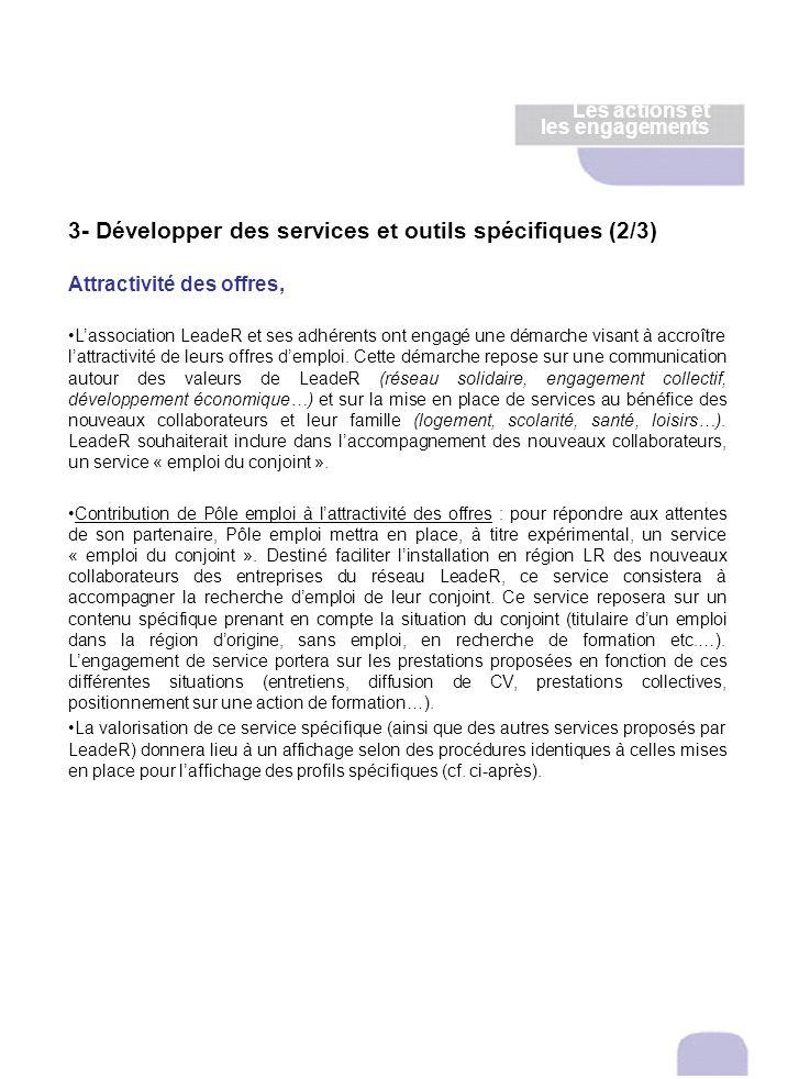 3- Développer des services et outils spécifiques (2/3) Attractivité des offres, Lassociation LeadeR et ses adhérents ont engagé une démarche visant à