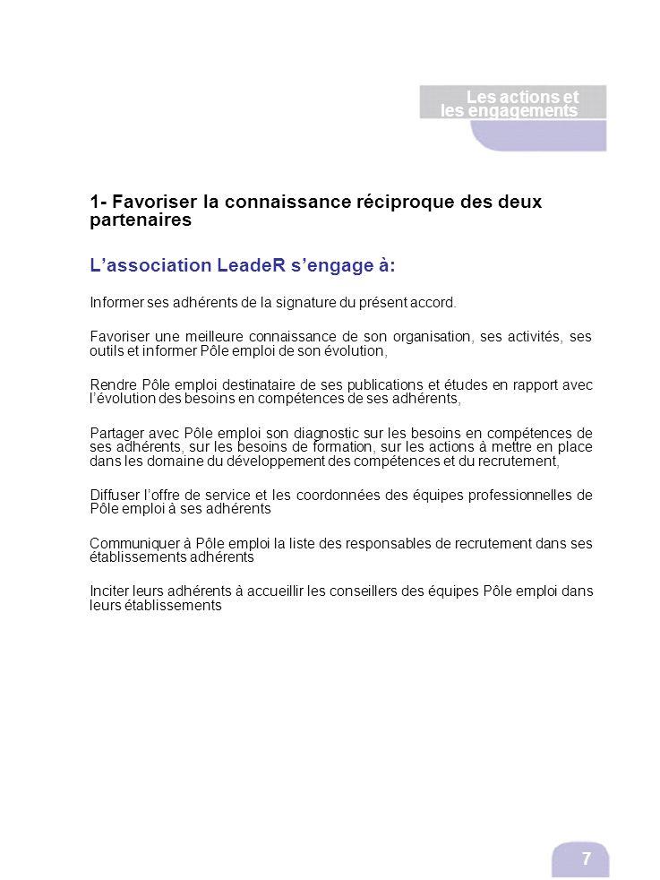Les actions et les engagements 1- Favoriser la connaissance réciproque des deux partenaires Lassociation LeadeR sengage à: Informer ses adhérents de l