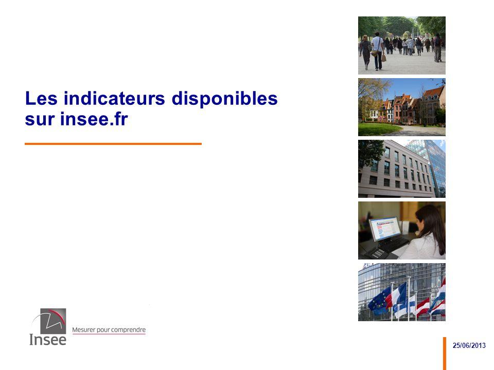 25/06/2013 2 Objectifs de la présentation Connaître les trois services de lInsee et être capable daccéder aux indicateurs clés des quartiers de la politique de la ville