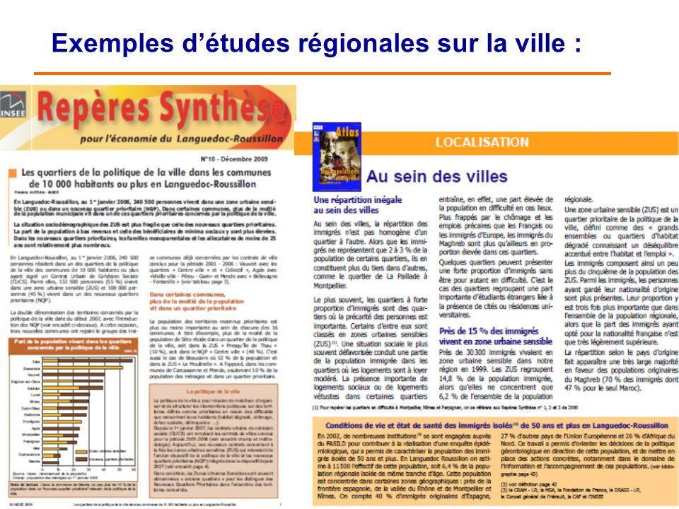 25/06/2013 12 Exemples détudes régionales sur la ville :