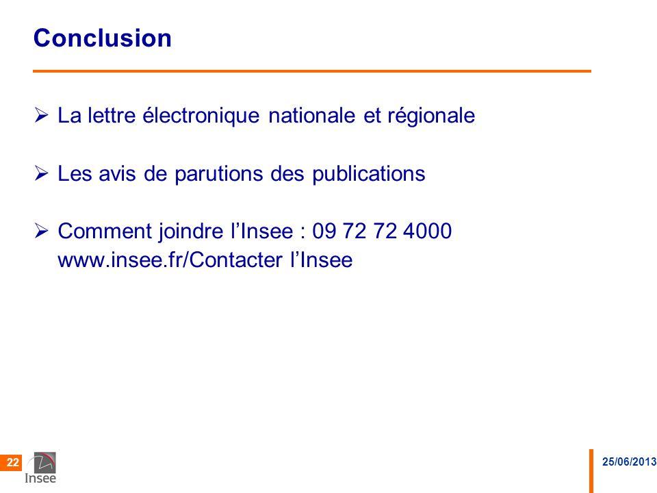 25/06/2013 22 Conclusion La lettre électronique nationale et régionale Les avis de parutions des publications Comment joindre lInsee : 09 72 72 4000 w