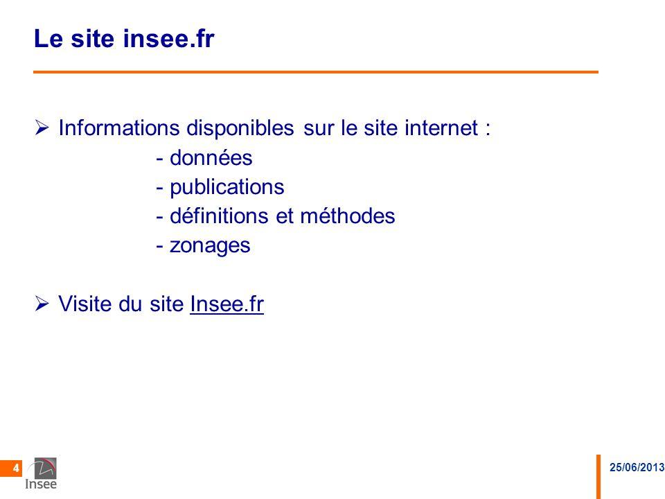 25/06/2013 4 Le site insee.fr Informations disponibles sur le site internet : - données - publications - définitions et méthodes - zonages Visite du s