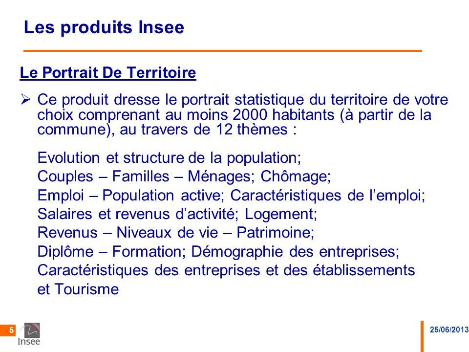 25/06/2013 5 Les produits Insee Le Portrait De Territoire Ce produit dresse le portrait statistique du territoire de votre choix comprenant au moins 2
