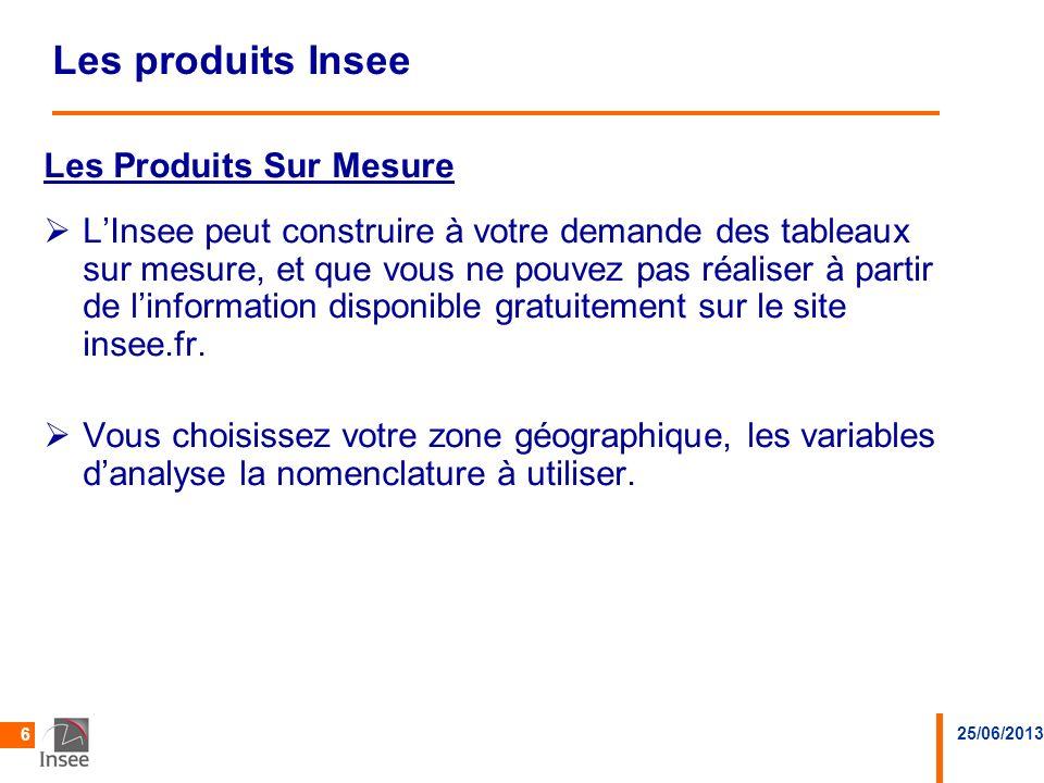 25/06/2013 6 Les produits Insee Les Produits Sur MesureProduits Sur Mesure LInsee peut construire à votre demande des tableaux sur mesure, et que vous