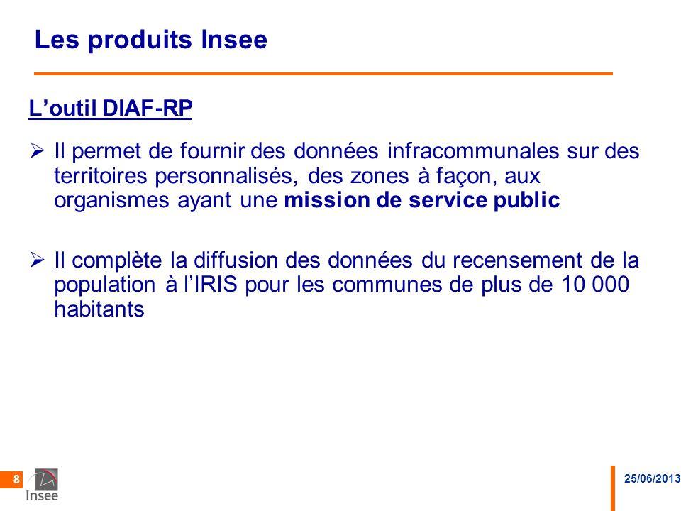 25/06/2013 8 Les produits Insee Loutil DIAF-RPDIAF-RP Il permet de fournir des données infracommunales sur des territoires personnalisés, des zones à